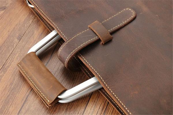 Crazy Horse Leather Briefcase, Stylish Slim-line Genuine Crazy Horse Leather Briefcase, Urbane London