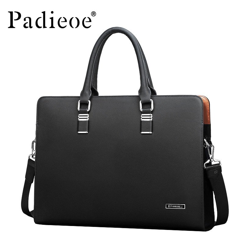 Padieoe Luxury Brand Genuine Leather Men Laptop Bag Briefcase Fashion Men s  Business Bags Casual Leather c3293a97dcca5
