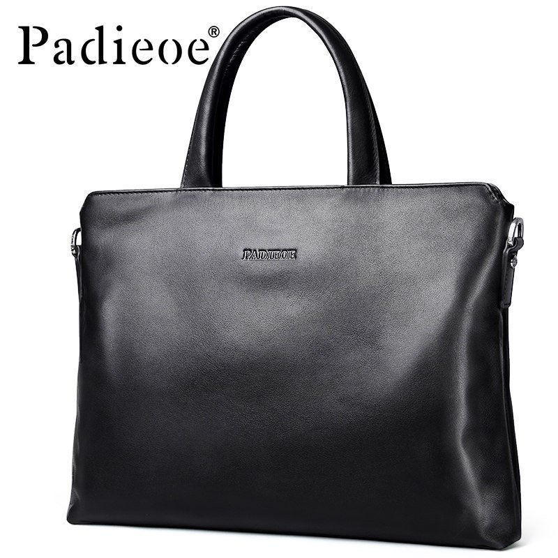 Padieoe – Genuine Cow Leather Men s Briefcase Fashion Solid Color Mens  Shoulder Bag Business Laptop 9133bee63d78e