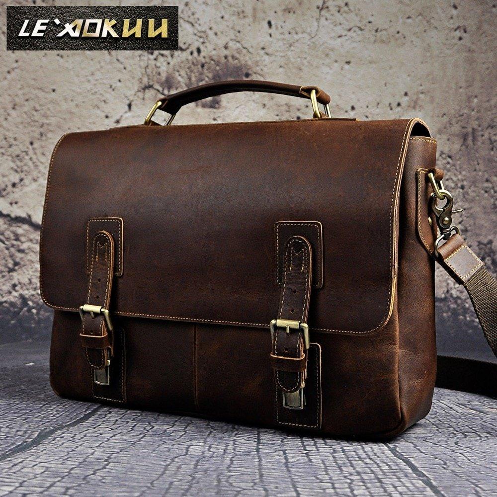 f8efa0a1c2d6 Men Crazy Horse Leather Retro Designer Business Briefcase Document Laptop  Case Male Fashion Portfolio Attache Shoulder Bag