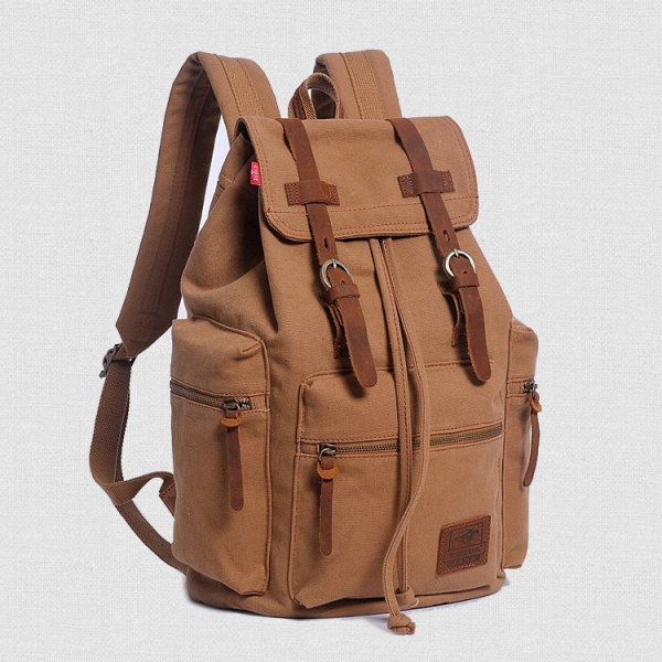 , Vintage Style Canvas Rucksack with Leather Accents, Urbane London