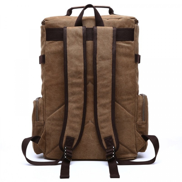 , Rugged Canvas Backpack with Leather Trim, Urbane London