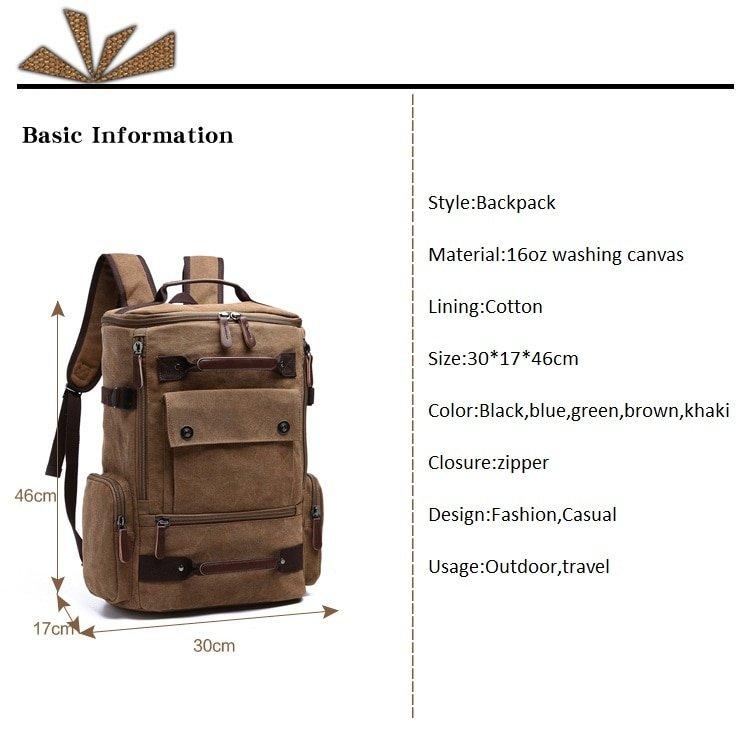 Men Laptop Backpack Rucksack Canvas School Bag Travel Backpacks for Teenage Male