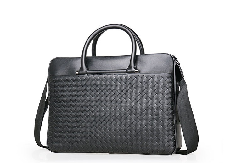 , Cross Weave Design Full Grain Leather Laptop Bag, Urbane London