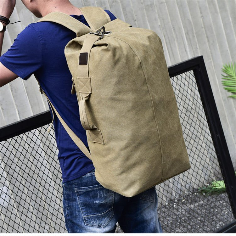 , Wellvo – Men's Military Canvas Backpacks Multi-purpose Bucket Shaped Rucksack Large Foldable Travel Bag, Urbane London