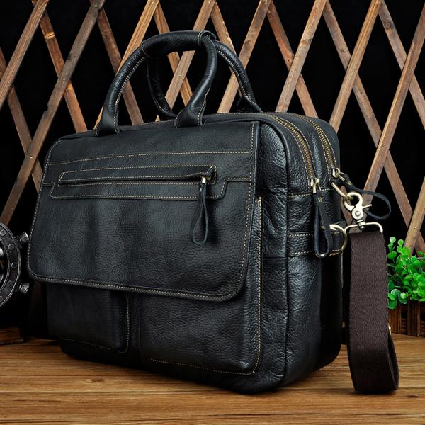 , Genuine Cowhide Briefcase/Laptop Bag With Oxford Crossbody Strap, Urbane London