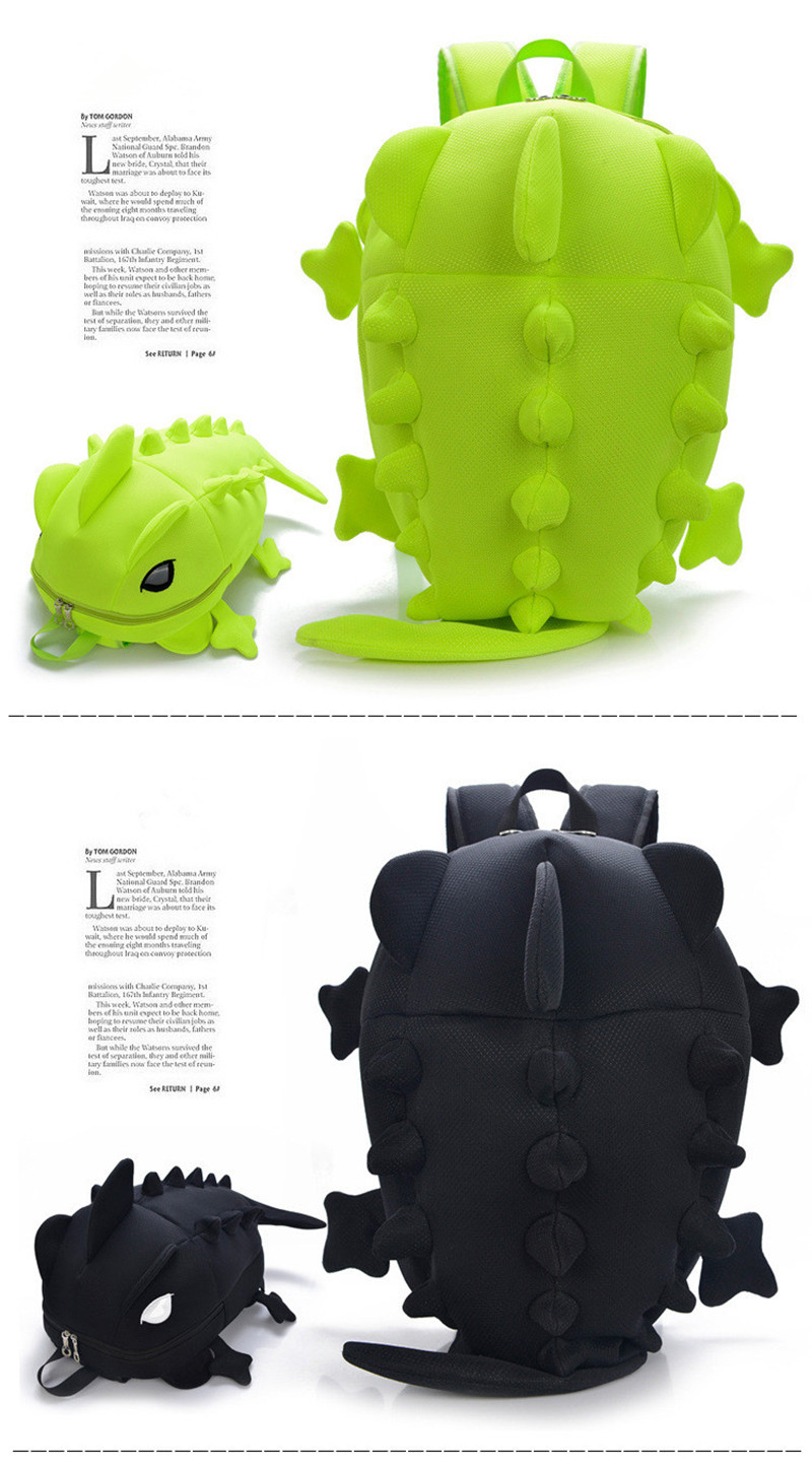 , Creative Chameleon Style Kids Cartoon School Backpack Dinosaur monster Rucksack School Bag, Urbane London