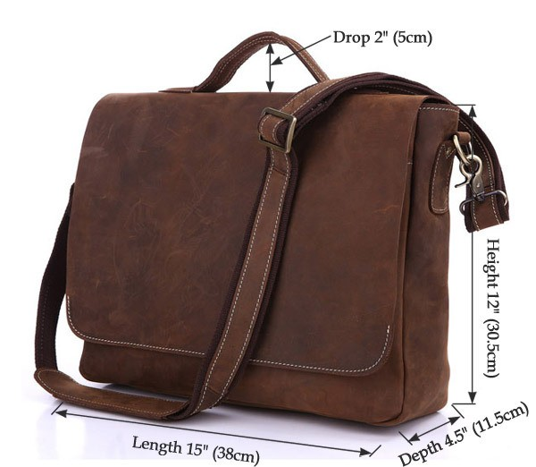 , Men's Crazy horse leather briefcase fit 15″ Laptop vintage genuine leather handbag leather business bag Brown work tote, Urbane London