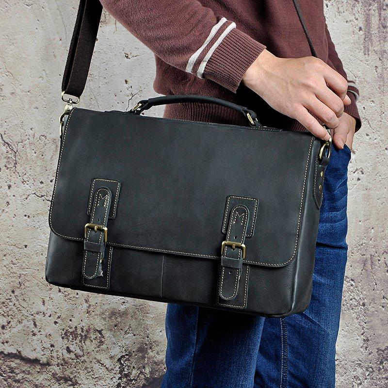 , Men Crazy Horse Leather Retro Designer Business Briefcase Document Laptop Case Male Fashion Portfolio Attache Shoulder Bag, Urbane London