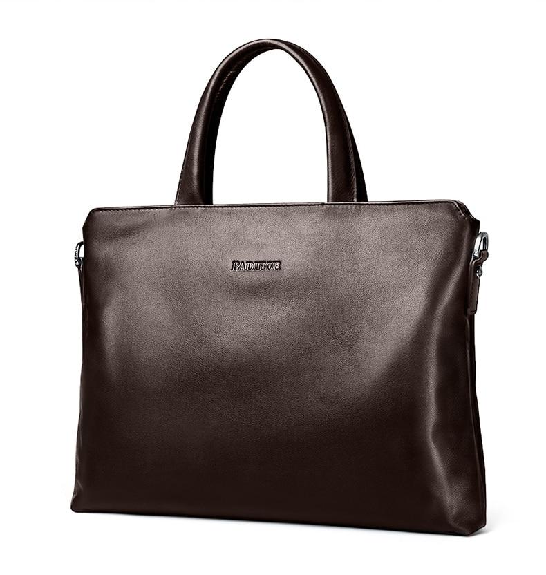, Padieoe – Genuine Cow Leather Men's Briefcase Fashion Solid Color Mens Shoulder Bag Business Laptop Bag, Urbane London