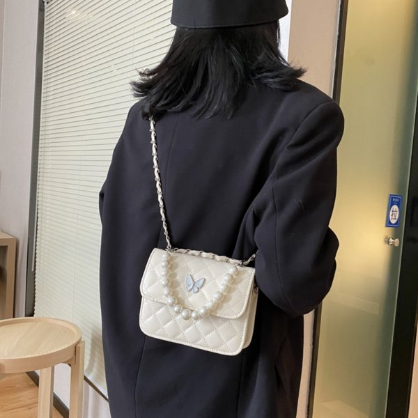 , Elegant Shoulder Handbag with Lattice Pattern and Butterfly Motif, Urbane London