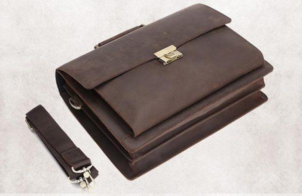 Stylish computer case, Vintage Style Leather Dial Locking Laptop Briefcase, Urbane London