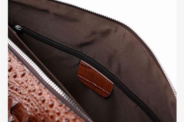 , Men's Crocodile Pattern Cow Leather Laptop Shoulder Bag, Urbane London