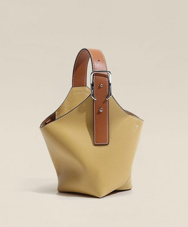 Ladies Small bucket bag, Small Saddle-Buckled Leather Shoulder Bag With Removable Crossbody Strap, Urbane London